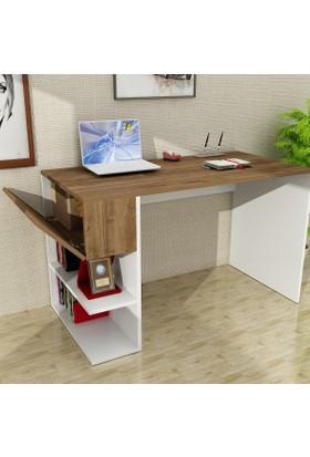 Dekorister Alphonzo Çalışma Masası Beyaz-Ceviz