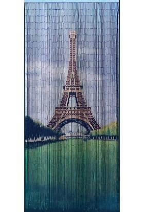 Bambu Kapı Perdesi Eyfel Kulesi Baskılı -En 90Cm - Boy 200Cm