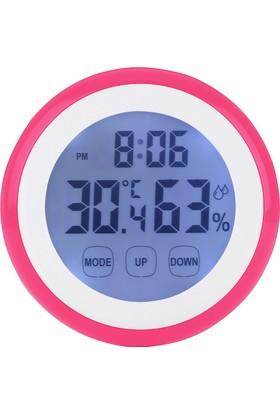 Dokunmatik Ekranlı Pembe Termometre ve Nem Ölçer Saatli thr201