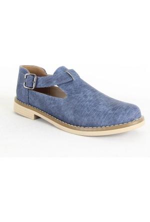 Belpino 1712 Bayan Kemerli Günlük Ayakkabı Mavi