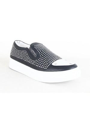 Pelpino 1728 Bayan Taşlı Günlük Ayakkabı Siyah