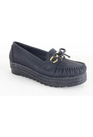 Demir 63 Fiyonklu Bayan Babet Ayakkabı Siyah