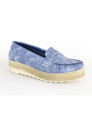 Demir 336 Hasır Taban Bayan Babet Ayakkabı Mavi