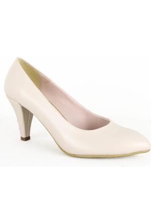 Yeystore 316 Klasik Bayan Topuklu Ayakkabı Krem