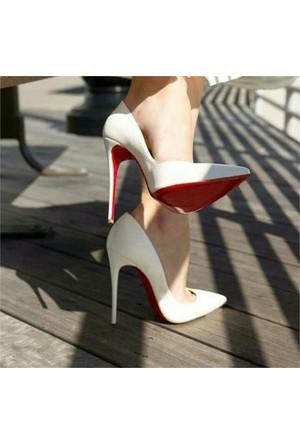 AyakkabıDevi Alessia Beyaz Stiletto Ayakkabı