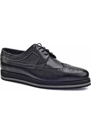 Cabani Bağcıklı Wingtip Oxford Günlük Erkek Ayakkabı Siyah Analin Deri