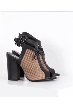 İlvi Sidonie 580-Y7 Sandalet Siyah Deri - Vizon Süet
