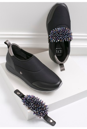 İlvi Furb 3124 Spor Ayakkabı Siyah Deri - Siyah Streç