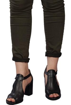 Marla Karen 7005 Siyah Cilt Sandalet