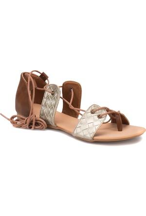 Art Bella Rb005 Taba Altin Kadın Sandalet