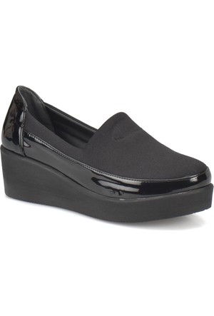 Travel Soft Sts002 Siyah Kadın Dolgu Topuk Ayakkabı