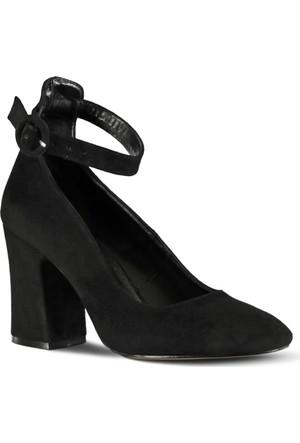 Marjin Capse Topuklu Ayakkabı Siyah Süet