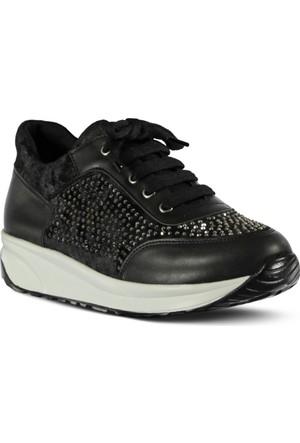 Marjin Kekuna Dolgu Topuk Spor Ayakkabı Siyah