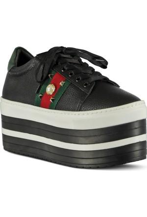 Marjin Gunte Dolgu Topuk Ayakkabı Siyah