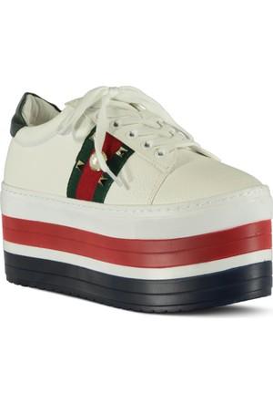 Marjin Gunte Dolgu Topuk Ayakkabı Beyaz