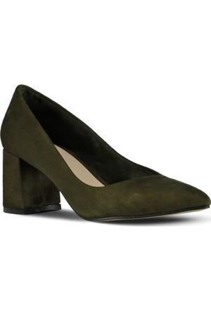 Marjin Aki Topuklu Ayakkabı Yeşil Süet