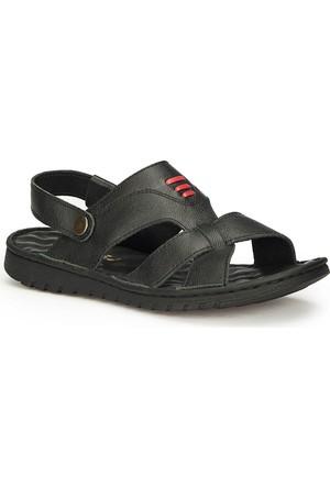 Polaris 71.156862.M Siyah Erkek Deri Sandalet