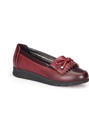 Polaris 72.158010.Z Bordo Kadın Loafer Ayakkabı