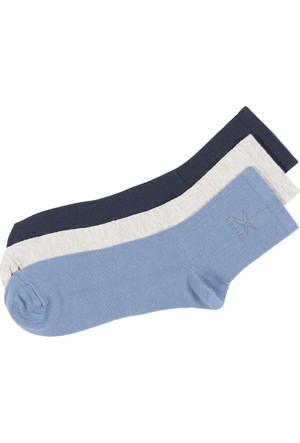 Kinetix Dale Lacivert Gri Mel Aruba Mavı Erkek Kısa Soket Çorap