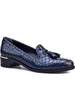 Cabani Püsküllü Croco Baskılı Günlük Kadın Ayakkabı Lacivert Croco Deri