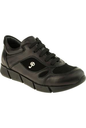 Perlina Erkek Çocuk 954 Bağlı Fermuarli Trend Siyah Ayakkabı