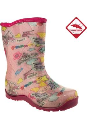 Twigy Kız Çocuk L0615 Tw Pepee Miflonlu Yağmur Pembe Çizme