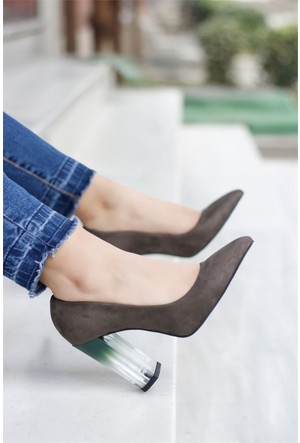 İnce Topuk Şeffaf Topuklu Ayakkabı Yeşil
