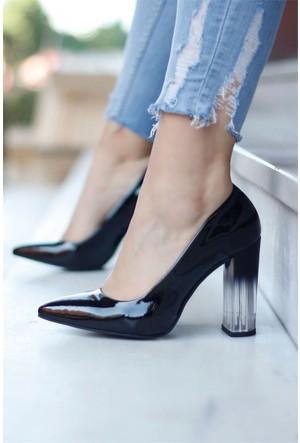 İnce Topuk Şeffaf Topuklu Ayakkabı Siyah