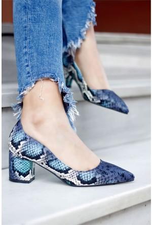 İnce Topuk Kalın Topuklu Ayakkabı Mavi