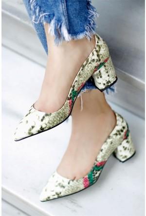 İnce Topuk Kalın Topuklu Ayakkabı Yeşil