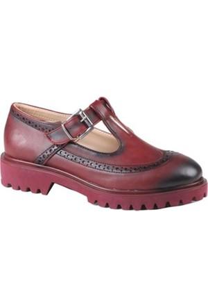 İnce Topuk Oxford Ayakkabı Bordo