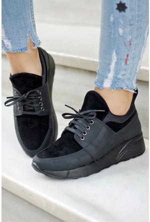İnce Topuk Kalın Taban Spor Ayakkabı Siyah