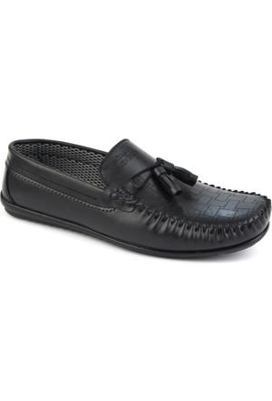 Gnc Siyah Deri Erkek Günlük Ayakkabı