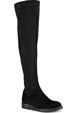 Marjin Cerin Düz Çizme Siyah Süet