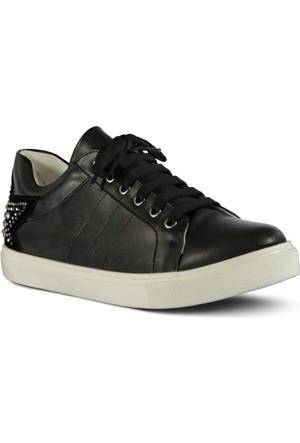 Marjin Alinda Düz Spor Ayakkabı Siyah