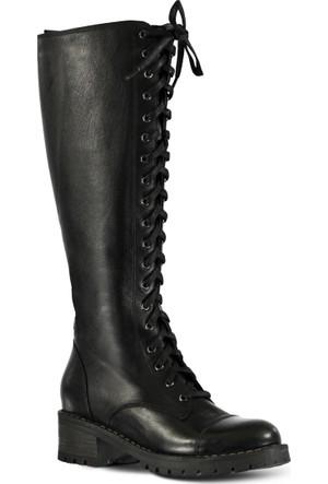 Marjin Ozeni Topuklu Deri Çizme Siyah