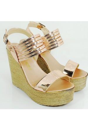 Ezel Dolgu Topuk Kadın Rugan Ayakkabı-Dore-113300-04