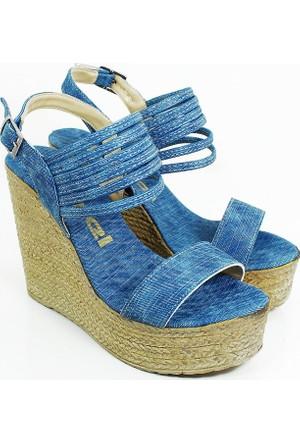 Ezel Dolgu Topuk Kadın Ayakkabı-Kot Laci-113301-01