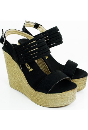 Ezel Dolgu Topuk Kadın Ayakkabı-Siyah-113301-02