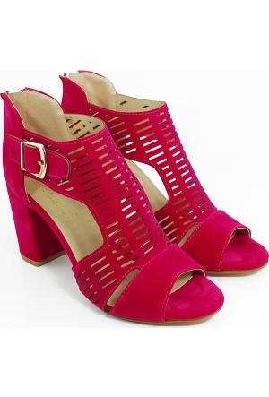 Lider Topuklu Kadın Lazer Kesim Ayakkabı-Fuşya-113303-01