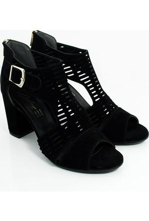 Lider Topuklu Kadın Lazer Kesim Ayakkabı-Siyah-113303-02