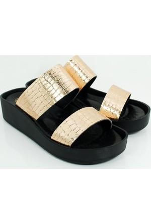 Cudo Kadın Günlük Terlik Sandalet-Altın-113307-02