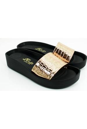Cudo Kadın Günlük Terlik Sandalet-Altın-113308-03