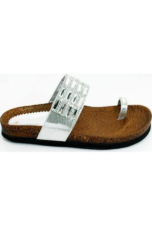 Angelina Kadın Günlük Terlik Sandalet-Gümüş-113317-01