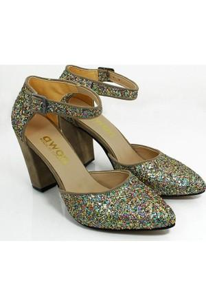 Awon Kadın Topuklu Abiye Ayakkabı-Altın-113329-02