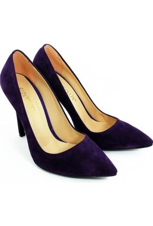 Rıdvan Çelik Kadın Stiletto Topuklu Ayakkabı-Kadife Mor-113336-05