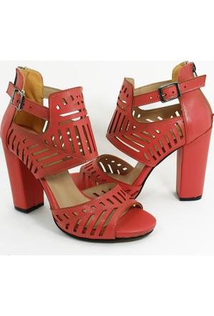 Awon Topuklu Kadın Ayakkabı-Pudra-113347-01