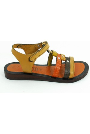 Lepi Hakiki Deri Kız Çocuk Sandalet-Taba-113299-05
