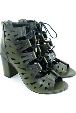 Lider Topuklu Kadın Bağcıklı Ayakkabı-Haki Yeşil-113304-03