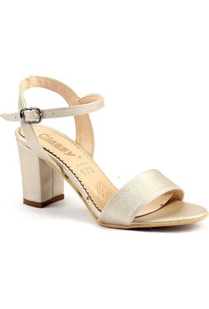 Classy 233 Günlük 7,5 Cm Topuklu Sandalet Bayan Cilt Ayakkabı